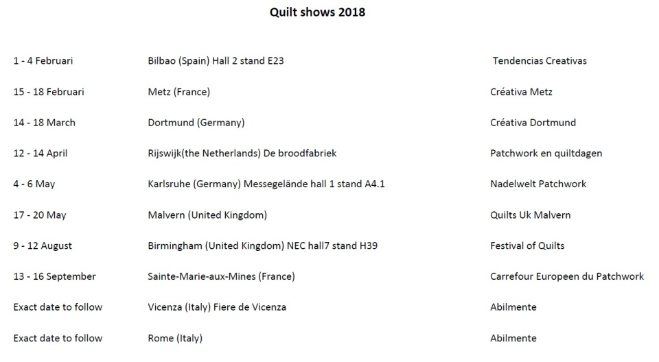 Quilt shows 2018