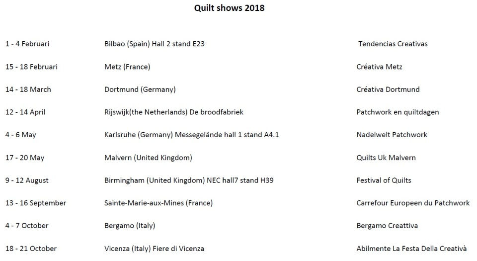Quilt shows 2018
