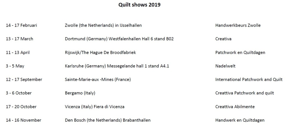 Quilt shows 2019